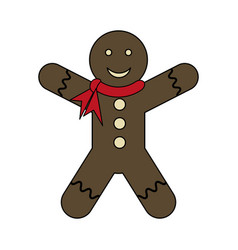White background with gingerbread man with scarf vector