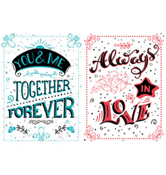 you and me together forever always in love vector image vector image