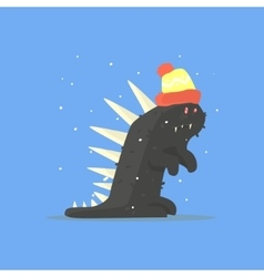 Black funny monster with spikes in warm hat in vector
