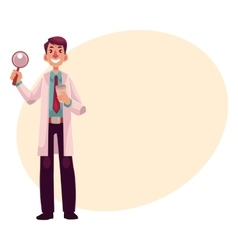 Smiling dermatologist doctor standing with vector image