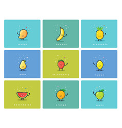 Set of fruit icons cute cartoon food characters vector