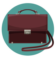 Leather man purse in blue button isolated on white vector