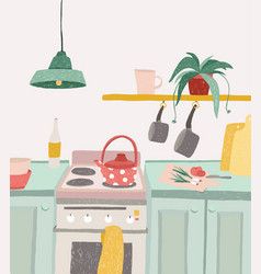 hand drawn home cooking in cartoon style colorful vector image