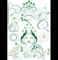 Variants brush patterns of leaves clovers vector