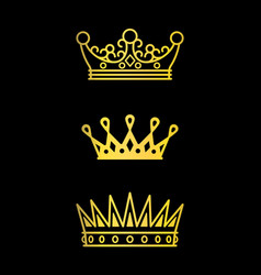 Crowns gold line icons vector
