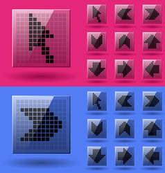 Lcd display pixel arrows vector
