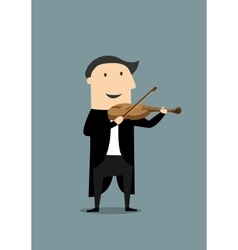 Cartoon violinist in black tailcoat vector