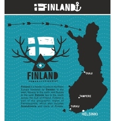 Map of finland and emblem print vector