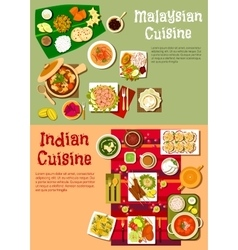 National indian and malaysian cuisine vector