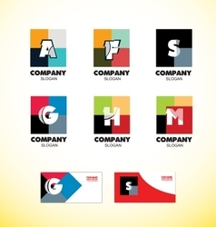 Alphabet letter vintage strong colors logo icon vector