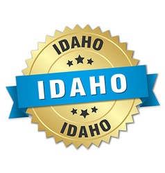 Idaho round golden badge with blue ribbon vector