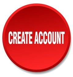Create account red round flat isolated push button vector
