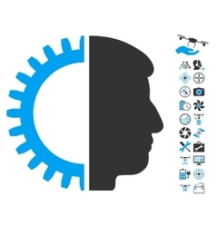 Android Head Icon With Copter Tools Bonus vector image vector image