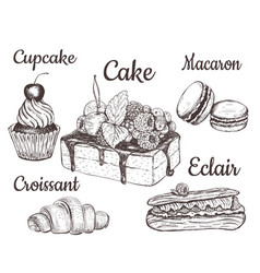 Cake cupcake croissant macaron vector