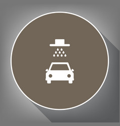 car wash sign white icon on brown circle vector image vector image