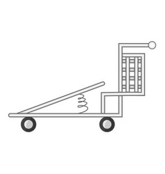 Cargo cart with spring icon cartoon style vector