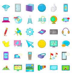 Computer page icons set cartoon style vector