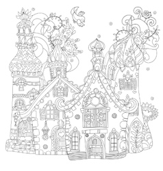 cute fairy tale town doodle vector image
