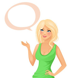 cute girl with speech bubble vector image vector image