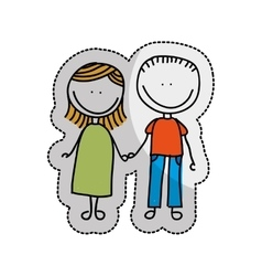 cute little couple isolated icon vector image