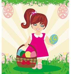 Easter card with girl and a basket of eggs vector image
