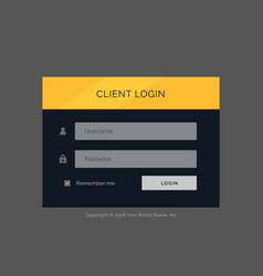 Flat modern login form ui template design vector