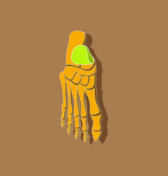 foot skeleton paper sticker on stylish background vector image vector image