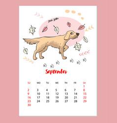 funny irish setter sketch calendar vector image