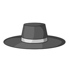 Gentleman hat icon gray monochrome style vector