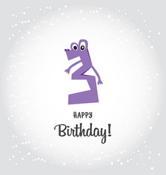 happy third birthday postcard violet number tree vector image vector image