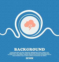 Heavy thunderstorm icon sign blue and white vector
