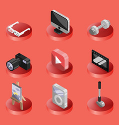 hobbie color ioutline isometric icons set vector image vector image