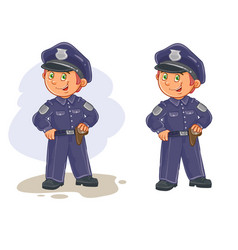 icons of small child police man vector image vector image