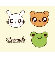 Kawaii frog bear and rabbit icon graphic vector
