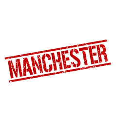 Manchester red square stamp vector