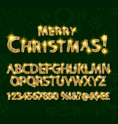 Merry christmas with golden letters and numbers vector