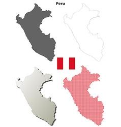 Peru outline map set vector