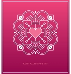 Pink design template with heart in white linear vector