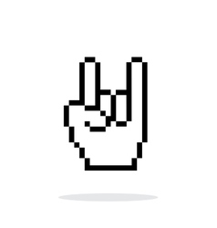 Pixel rock hand icon on white background vector image