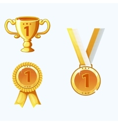 Set gold medals and awards trophy vector
