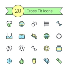Set of crossfit gym equipment color line icons of vector image vector image