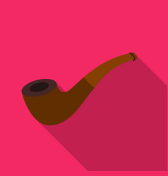 tobacco pipe icon in flat style isolated on white vector image