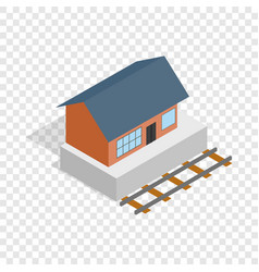 Train station building isometric icon vector