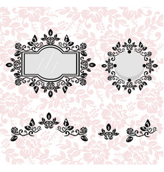 Vintage frames set collection of round and vector