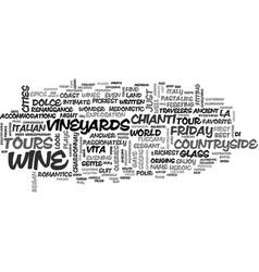 Wine tours la dolce vita text word cloud concept vector