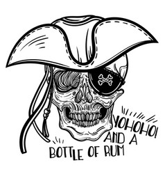 with a human skull and hat vector image