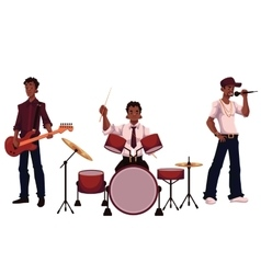 Set of handsome african male singer drummer and vector
