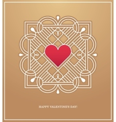 Golden heart frame for love design concept vector image