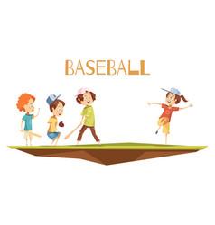 Cartoon kids playing baseball vector
