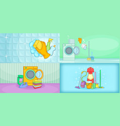 cleaning banner set horizontal cartoon style vector image